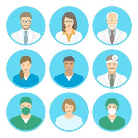Flache Avatare des medizinischen Klinikpersonals von Ärzten, Krankenschwestern, Chirurgen, Assistenten, Patienten. Vector runde Portraits, Kontoprofilbilder, männlich und weiblich. Gemischte Gesichter des Krankenhauspersonals