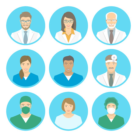 doctors and patient: Medical clinic staff flat avatars of doctors, nurses, surgeon, assistant, patient. Vector round portraits, account profile pictures, male and female. Hospital personnel multiracial faces