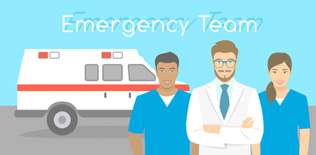 Modern flat stylized horizontal vector illustration of a smiling group of multiracial ambulance personnel, doctor and nurses standing opposite the ambulance car. First Aid team conceptual banner