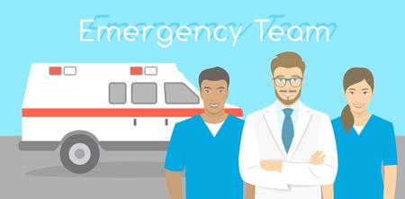 Ilustración moderna plana estilizada horizontal del vector de un sonriente grupo de personal multirraciales ambulancia, médico y enfermeras de pie frente al coche de la ambulancia. Bandera conceptual equipo de primeros auxilios Ilustración de vector