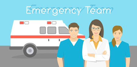 ambulance: Modern flat stylized horizontal vector illustration of a smiling group of multiracial ambulance personnel, doctor and nurses standing opposite the ambulance car. First Aid team conceptual banner