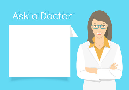 consultant: Modern flat stylized vector illustration of smiling young attractive friendly looking female doctor consultant standing with arms crossed opposite information dialog box. Online consultation concept