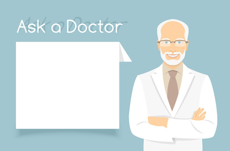 experienced: Modern flat stylized vector illustration of smiling experienced aged friendly looking male doctor consultant standing with arms crossed opposite information dialog box. Online consultation concept Illustration