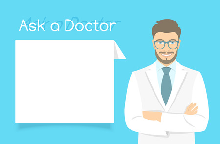 consultant physicians: Modern flat stylized vector illustration of smiling young attractive friendly looking male doctor consultant standing with arms crossed opposite information dialog box. Online consultation concept Illustration