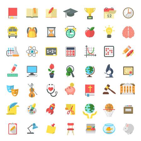 Conjunto de modernos iconos vectoriales planas de las materias escolares, actividades, educación y símbolos de la ciencia aislados en blanco. Conceptos para el sitio web, aplicaciones móviles o de la computadora, la infografía