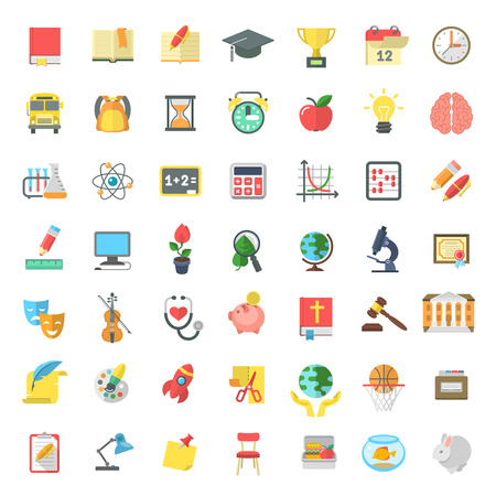 graduacion caricatura: Conjunto de modernos iconos vectoriales planas de las materias escolares, actividades, educación y símbolos de la ciencia aislados en blanco. Conceptos para el sitio web, aplicaciones móviles o de la computadora, la infografía