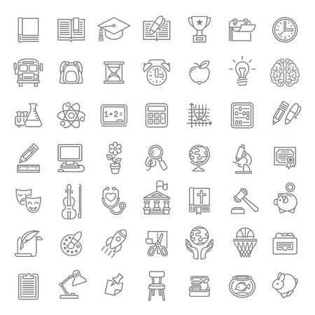 school computer: Set of modern flat line art vector icons of school subjects, activities, education and science symbols on white. Concepts for web site, mobile or computer apps, infographics, presentations, promotion