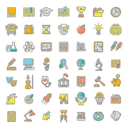Conjunto de modernos de línea plana coloridos iconos vectoriales de las materias escolares, actividades, educación y símbolos de la ciencia. Conceptos para el sitio web, aplicaciones móviles o informáticas, infografías, presentaciones, promoción