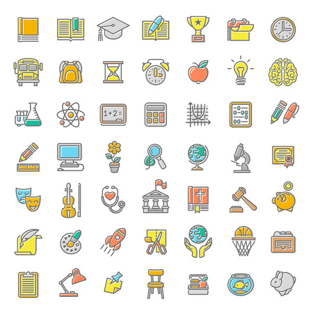 Set of modern flat line colorful vector icons of school subjects, activities, education and science symbols. Concepts for website, mobile or computer apps, infographics, presentations, promotion