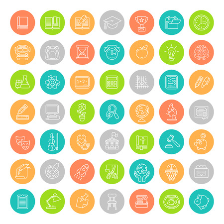 Set of modern flat line colorful round vector icons of school subjects, activities, education, science symbols. Concepts for web site, mobile or computer apps, infographics, presentations, promotion Vectores