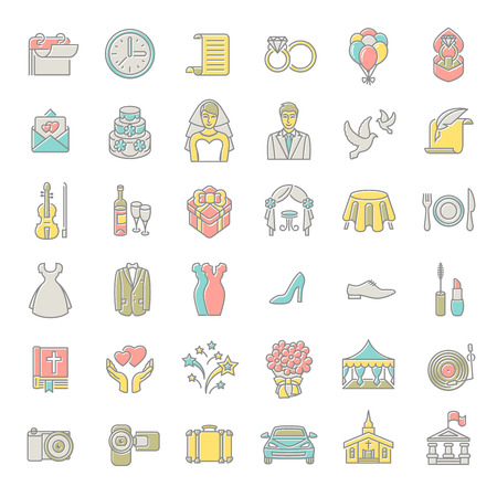 Set of modern flat linear colorful vector wedding icons . Line art conceptual symbols of wedding party for web site, mobile or computer apps, infographic, presentation, promotional materials Illustration