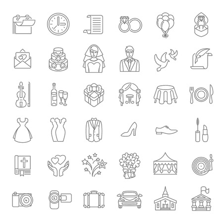 Set of modern flat linear vector wedding icons. Line art conceptual symbols of wedding party for web site, mobile or computer apps, infographic, presentation, promotional materials