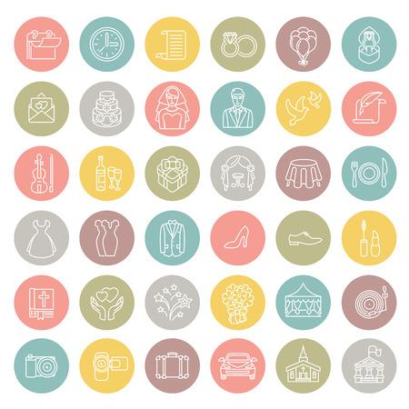 Conjunto de modernos iconos de la boda de vectores lineales planas en los círculos coloridos. Estilo del arte Línea símbolos conceptuales redondas de fiesta de la boda para el sitio web, aplicaciones móviles o informáticas, infografía, presentación, promoción