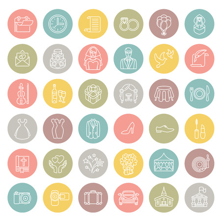 Set of modern flat linear vector wedding icons in colorful circles. Line art style round conceptual symbols of wedding party for web site, mobile or computer apps, infographic, presentation, promotion