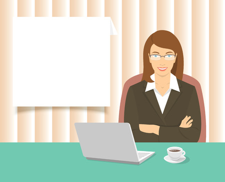 it business: Modern flat stylized vector illustration of smiling young attractive business woman sitting at the office desk with a laptop and a cup of coffee on it. Business information dialog box