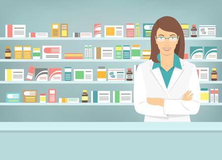 Ilustración vectorial Moderno piso de la sonrisa joven farmacéutico de sexo femenino atractivo en el mostrador de una farmacia de enfrente de estantes con medicamentos. La atención de salud base conceptual