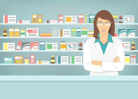 Modern flat vector illustration of smiling young attractive female pharmacist at the counter in a pharmacy opposite of shelves with medicines. Health care conceptual background