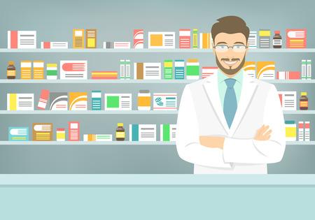 vendedores: Ilustración vectorial Moderno piso de un farmacéutico de sexo masculino atractivo joven y sonriente en el mostrador de una farmacia frente de estantes con medicamentos. La atención de salud base conceptual
