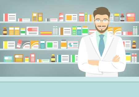 Modern flat vector illustration of a smiling young attractive male pharmacist at the counter in a pharmacy opposite of shelves with medicines. Health care conceptual background
