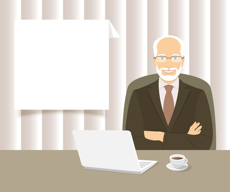 experienced: Modern flat stylized vector illustration of smiling experienced friendly looking businessman sitting at the office desk with a laptop and a cup of coffee on it. Business information dialog box Illustration