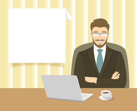 it business: Modern flat stylized vector illustration of smiling young attractive friendly looking businessman sitting at the office desk with a laptop and a cup of coffee on it. Business information dialog box Illustration