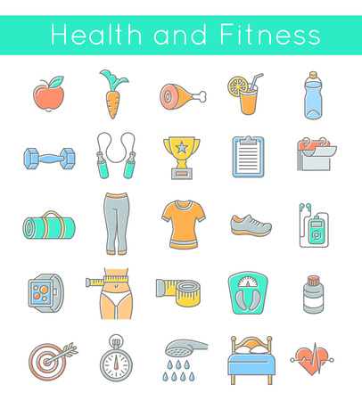 health and wellness: Modern flat linear vector icons of healthy lifestyle, fitness and physical activity. Diet, exercising in a gym, training equipment and clothing. Thin line wellness icons for website, apps, advertising or infographic