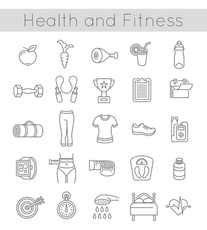 physical training: Modern flat linear vector icons of healthy lifestyle, fitness and physical activity. Diet, exercising in a gym, training equipment and clothing. Thin line wellness icons for website, apps, advertising or infographic