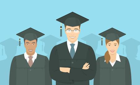 cartoon graduation: Vector plana horizontal ilustraci�n moderna de un grupo de j�venes multirraciales graduarse de licenciatura, en vestidos de graduaci�n y birretes. Educaci�n, formaci�n o el concepto de la escuela de negocios Vectores