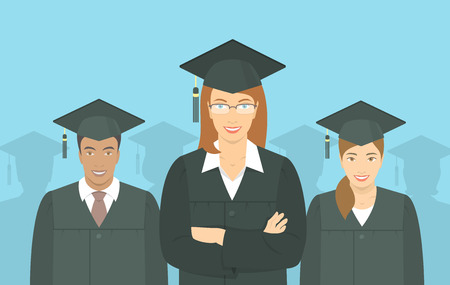 multiracial: Modern flat vector horizontal illustration of a group of multiracial young people graduate bachelor degree, in graduation gowns and mortarboards. Education, training or business school concept