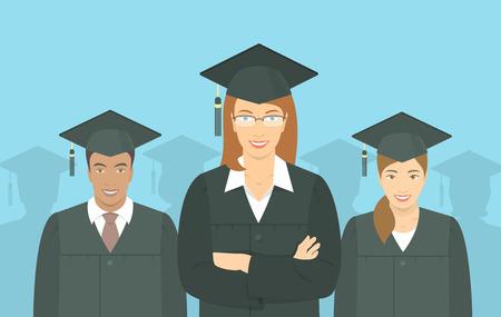 licenciatura: Vector plana horizontal ilustración moderna de un grupo de jóvenes multirraciales graduarse de licenciatura, en vestidos de graduación y birretes. Educación, formación o el concepto de la escuela de negocios Vectores