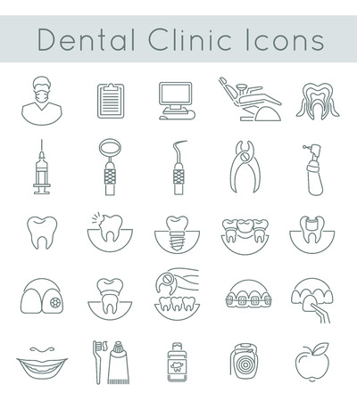 limpieza: Línea de iconos vectoriales conceptuales delgadas planas de los servicios dentales de la clínica, estomatología, odontología, ortodoncia, el cuidado bucal de la salud y la higiene, la restauración de los dientes y los instrumentos dentales. Elementos de diseño lineales