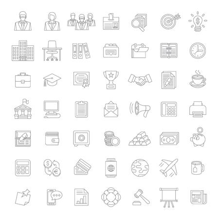 Conjunto de iconos delgadas planas modernas de negocios línea de temas tales como finanzas, marketing, contabilidad, dinero, banca, gestión, análisis, personal de oficina, suministros, etc Diseño web, elementos de infografía Foto de archivo - 45261150