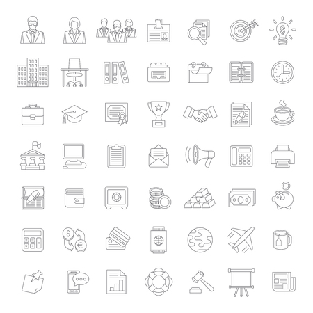 Set of modern flat thin line business icons for such topics as finance, marketing, accounting, money, banking, management, analysis, office staff, supplies etc. Web design, infographics elements Illustration