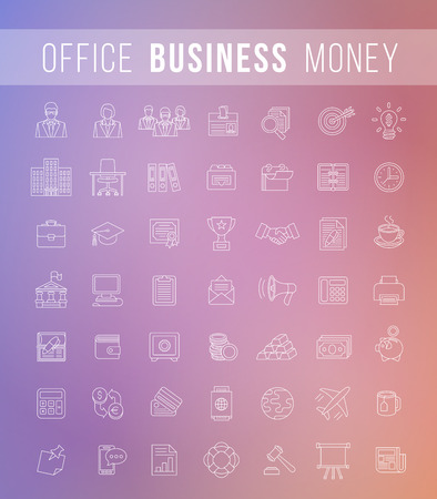 office staff: Set of modern vector flat thin line business icons for finance, marketing, accounting, money, banking, management, analysis, office staff, supplies topics on blur. Web design, infographics elements