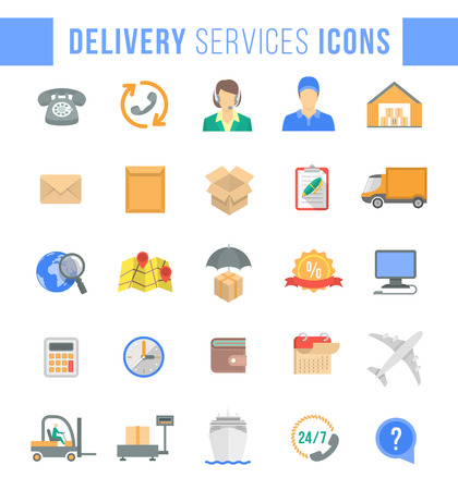 delivery icon: Set of modern flat vector icons of delivery service, logistic business, shipping and transportation. Colorful conceptual symbols for interface design of website. Isolated on white