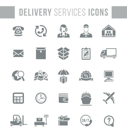 delivery icon: Set of modern flat vector dark silhouette icons of delivery service, logistic business, shipping and transportation. Conceptual symbols for interface design of website. Isolated on white Illustration
