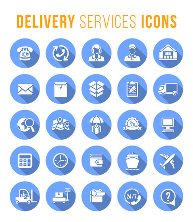 circulos azules: Set of modern flat vector round icons of delivery service, logistic business, shipping and transportation. Conceptual symbols for interface design of website in blue circles