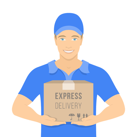 Flat vector illustration of a smiling young attractive man courier holding a parcel in a cardboard box. Express delivery concept. Delivery boy in a blue uniform. Front view on white