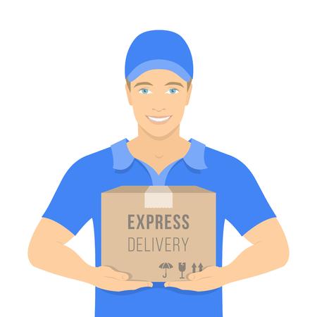 Piatto illustrazione vettoriale di una sorridente giovane uomo attraente corriere in possesso di un pacco in una scatola di cartone. Concetto di consegna espressa. Consegna ragazzo in divisa blu. Vista frontale su bianco Archivio Fotografico - 45937268