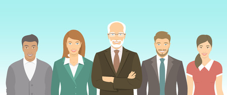 Modern flat vector illustration of business people teamwork, men and women, boss and employees in business suits. Group of business professionals horizontal banner. Start up concept Çizim
