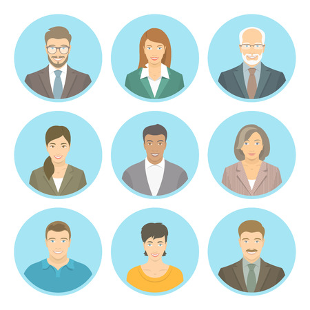 Business people vector flat avatars, women and men, in suits and casual clothes. Male and female profile icons of different ages and lifestyle. Attractive friendly multiracial faces at round portraits
