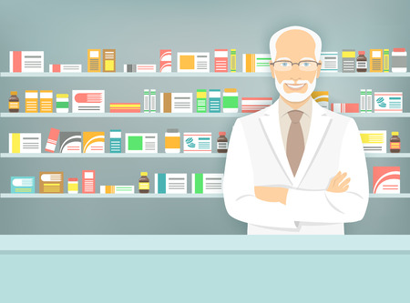 pharmacy store: Modern flat vector illustration of a smiling aged male pharmacist at the counter in a pharmacy opposite of shelves with medicines. Health care conceptual background