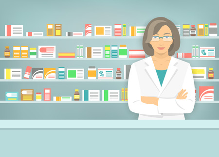 pharmacy store: Modern flat vector illustration of smiling female pharmacist at the counter in a pharmacy opposite of shelves with medicines. Health care conceptual background