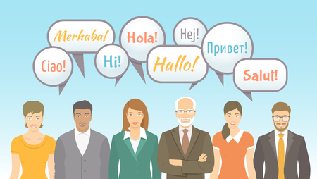 Foreign language school for adults conceptual banner. Group of men and women of different ages and lifestyles saying hello. Business and personal international communication. Vector flat illustration