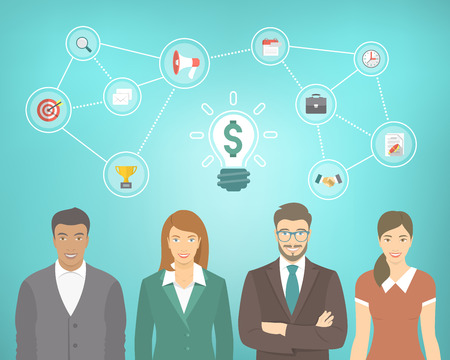 Flat vector conceptual illustration of young office people, men and women in business suits and casual clothes with marketing, advertising and start up icons. Collaboration and teamwork infographics