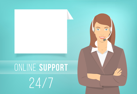 helpdesk: Modern flat vector illustration of young pretty girl, employee of call center support and help service with headphones and speech bubble for chat with visitors of website. Helpdesk online concept.