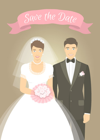 married couples: Illustration of wedding portrait of young attractive happy bride in wedding dress with a bouquet and a groom in a tuxedo with a bow tie. Modern vector flat stylized photo of newlyweds with a ribbon