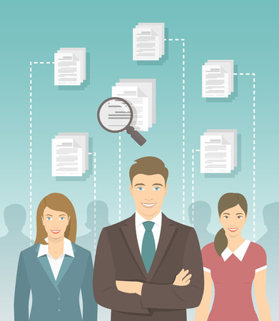 business group: Modern vector flat conceptual illustration of human resources management, searching for perfect staff, analyzing resume, head hunting concept. Man in business suit in front of other candidates