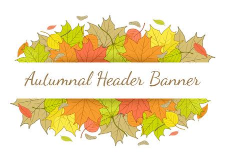 fallen: Autumn header banner with hand drawn fallen leaves.