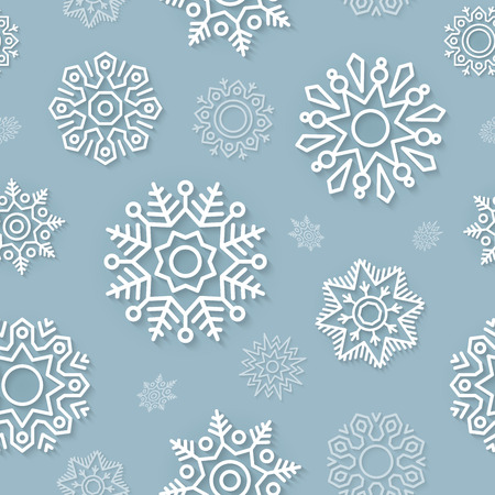 winter wallpaper: Abstract vector Christmas background seamless pattern with white linear snowflakes on a blue background. Winter and New Year wallpaper, wrapping paper, textile design